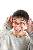 Young man Overhears — Stock Photo