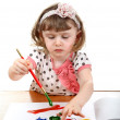 Little Girl Drawing — Stock Photo #24469731