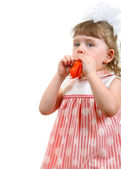 Little Girl Blow Up a Balloon — Stock Photo