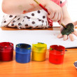 Little Girl Drawing On Her Hand — Stock Photo