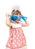 Little Girl with Big Blue Glasses — Stock Photo