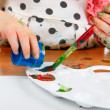 Little Girl Drawing Closeup — Stock Photo