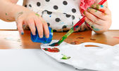 Little Girl Drawing Closeup — Stock Photo