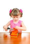 Little Girl with Scissors — Stock Photo