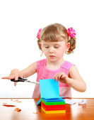 Little Girl with Scissors — Stock Photo