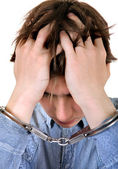 Troubled Man in Handcuffs — Stock Photo