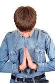 Praying Man in Handcuffs — Stock Photo