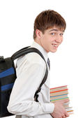 Student with Knapsack holding the Books — Stock Photo