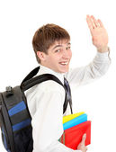 Student with Knapsack Wave Goodbye — Stock Photo