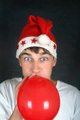 Teenager with Red Balloon — Stock Photo