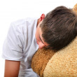 Teenager sleeps with Cushion — Stock Photo