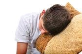 Teenager sleeps with Cushion — Stock Photo
