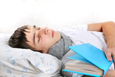 Young Man Sleeps with a Book — Stock Photo