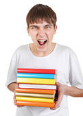 Angry Student with a Books — Stockfoto