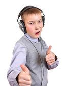 Boy in Headphones — Stock Photo