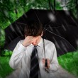 Sad Man under Rain — Stock Photo