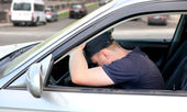 Man fall asleep in the Car — Stock Photo