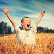 Happy Kid in the Field — Stok fotoğraf