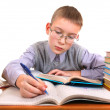 Schoolboy writing — Stock Photo