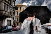 Sad Man under the Rain — Stock Photo