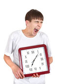 Teenager with Big Clock — Stock Photo