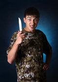 Teenager with a Knife — Stock Photo