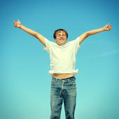 Happy Teenager Jumping — Stock Photo