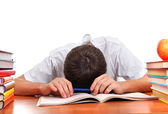 Uczeń zmęczony śpi — Zdjęcie stockowe