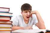 Tired Student is Yawning — Stock Photo