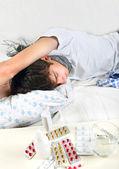 Sick Young Man Sleeping — Stock Photo