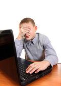 Sad Kid with Laptop — Foto de Stock