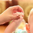 Parent holds Babys Hand — Stock Photo