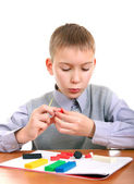 Boy Play with Plasticine — Stock Photo