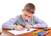 Kid is Drawing — Stock Photo