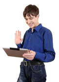 Teenager with Tablet Computer — Stock Photo