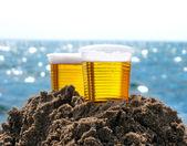Beer in Plastic Cups outdoor — Stock Photo
