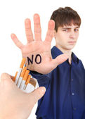 Teenager refuse Cigarettes — Stock Photo