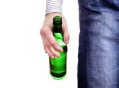 Person holding Beer Bottle — Stock Photo