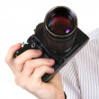 Old Camera in a Hand — Stock Photo