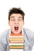 Excited Student with the Books — Stock Photo