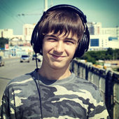 Teenager Portrait in Headphones — Stock Photo
