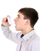 Teenager with Inhaler — Stock Photo