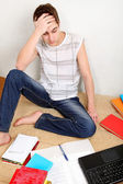 Confused Teenager with the Books — Stock Photo