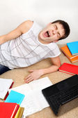 Tired Student on Sofa — Stock Photo