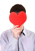 Person holds Red Heart Shape — Stockfoto