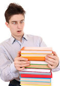 Surprised Teenager with the Books — Stock Photo