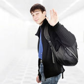 Teenager wave Goodbye — Stock Photo