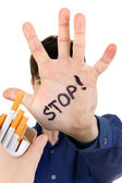 Teenager refuses Cigarette — Stock Photo