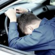 Teenager Fall asleep in a Car — Stock Photo