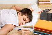 Teenager sleeps on the Books — Stock Photo